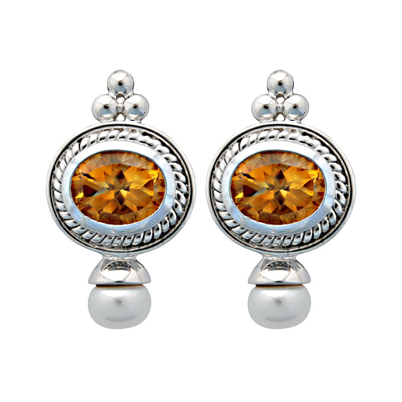 Earrings-Citrine and Pearl