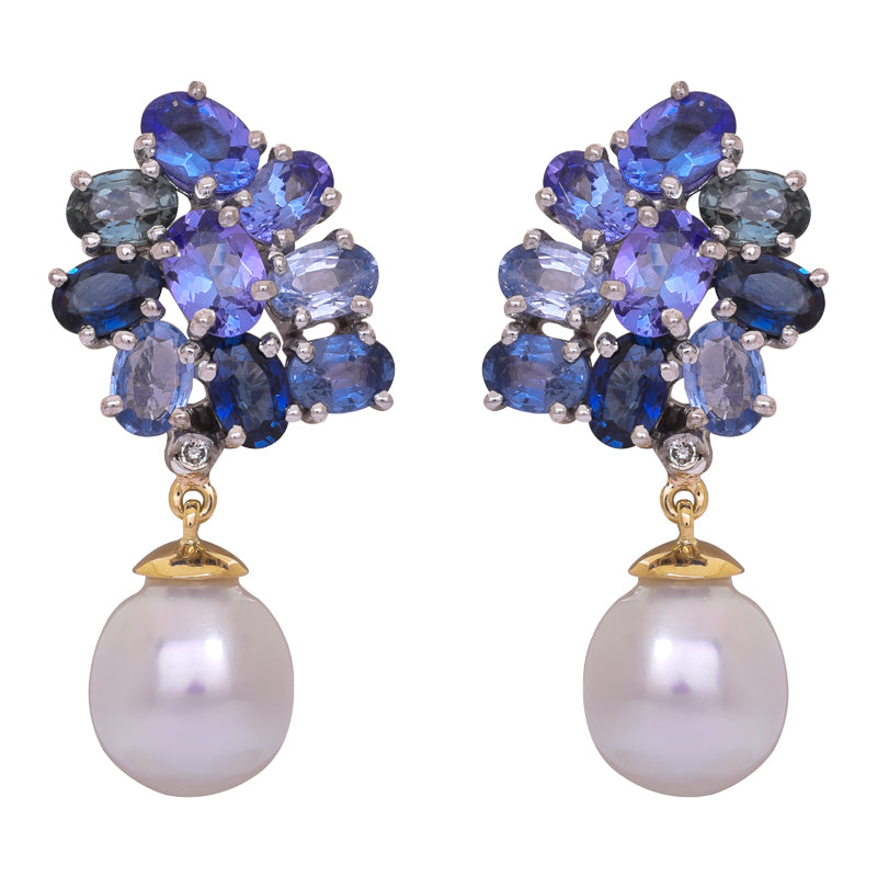 Earrings- Blue Sapphire, Tanzanite, South Sea Pearl and Diamond