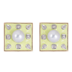 Earrings- Pearl and Diamond (Enamel)