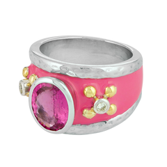 Ring - Rubellite and Diamond (Enamel)