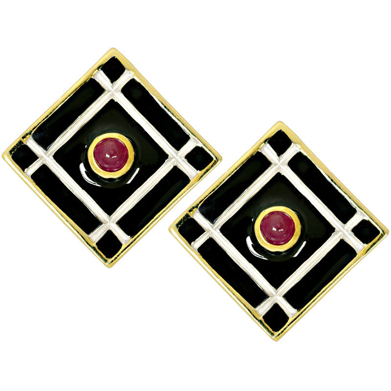 Earrings-Ruby (Enamel)