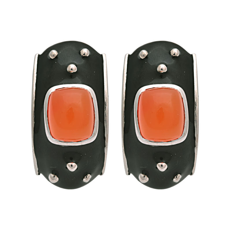 Earrings-Cornelian (Enamel)