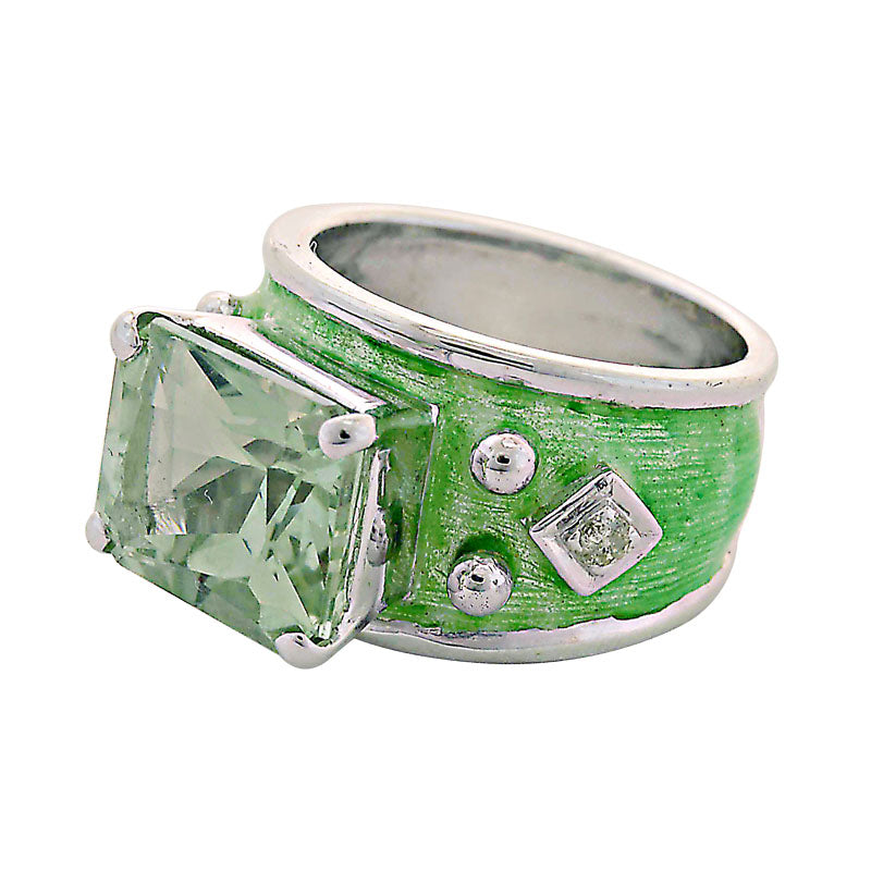 Ring-Green Quartz and Diamond (Enamel)