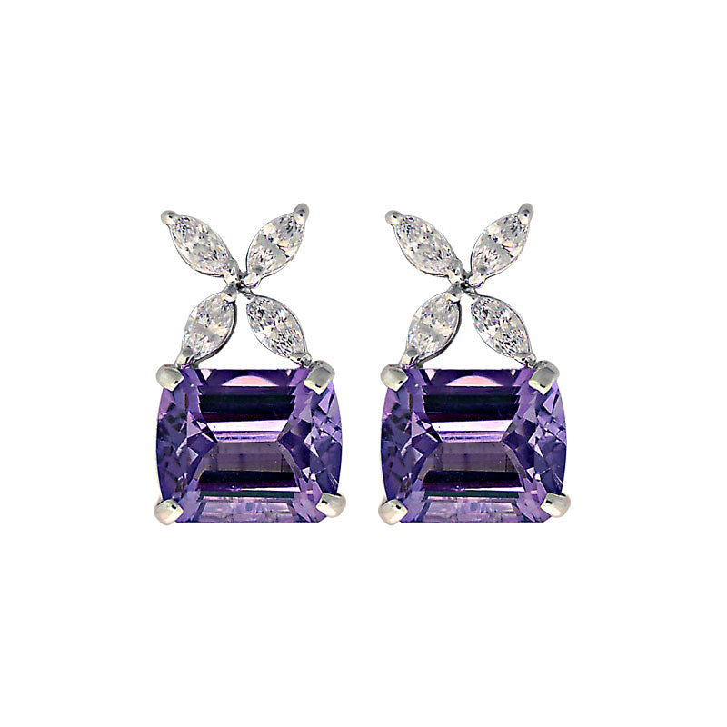 Earrings-Amethyst and Zircon