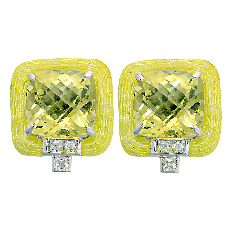 Earrings-Lemon Quartz and Zircon (Enamel)