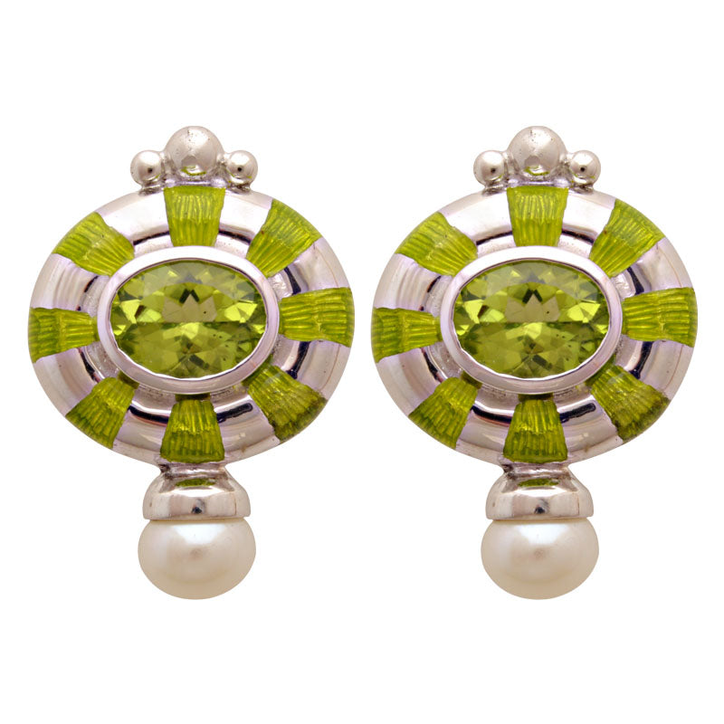 Earrings-Peridot and Fresh Water Pearl (Enamel)