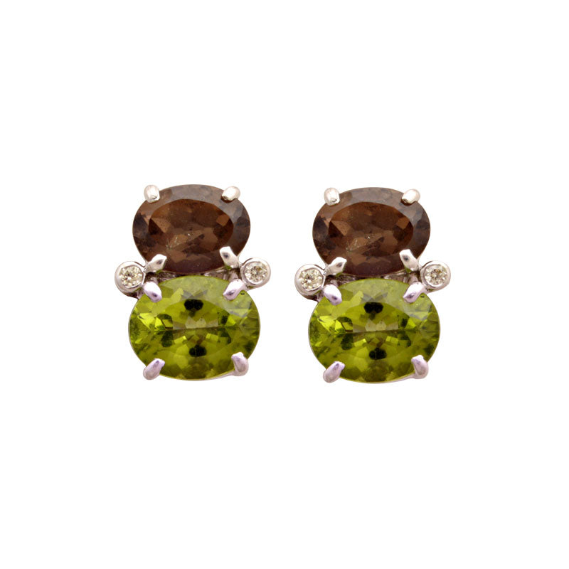 Earrings-Smokey Quartz, Peridot and Diamond