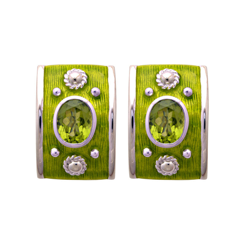 Earrings-Peridot (Enamel)