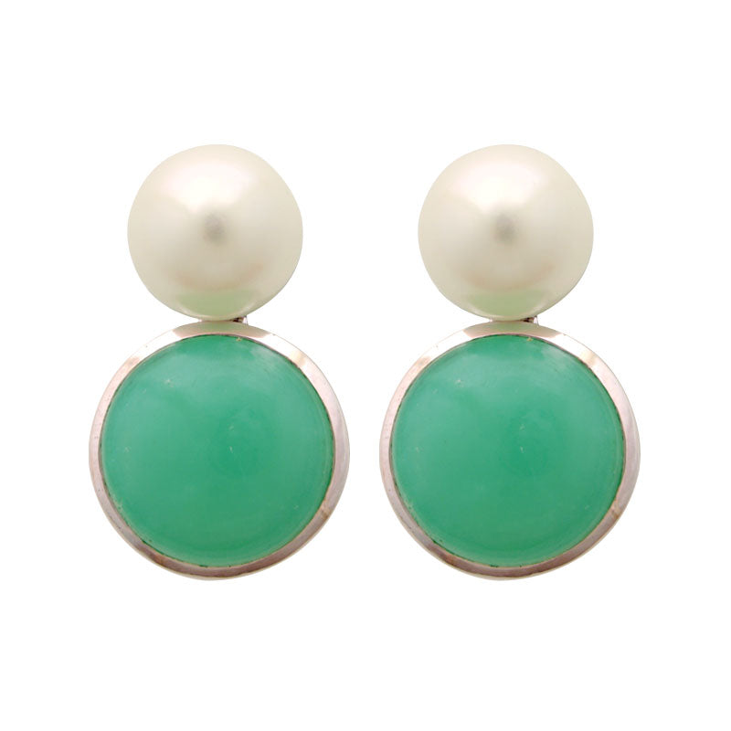 Earrings-Chrysoprase and Fresh Water Pearl