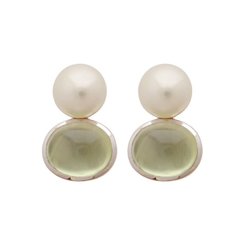 Earrings-Prehnite and Fresh Water Pearl