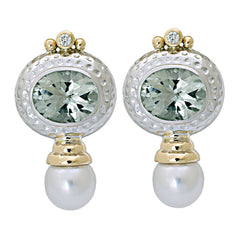 Earrings-Green Quartz, South Sea Pearl and Diamond