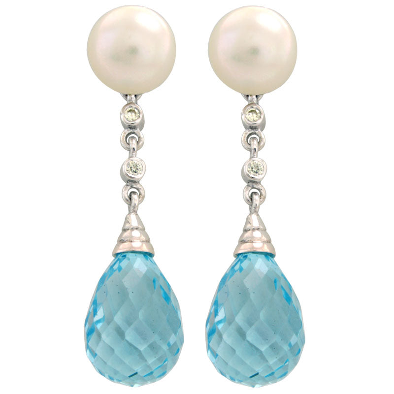 Earrings-Blue Topaz, Fresh Water Pearl and Diamond