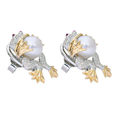 Earrings-Ruby, South Sea Pearl and Diamond