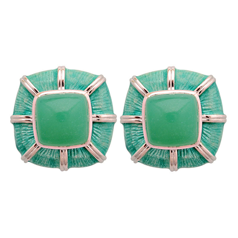 Earrings-Chrysoprase (Enamel)