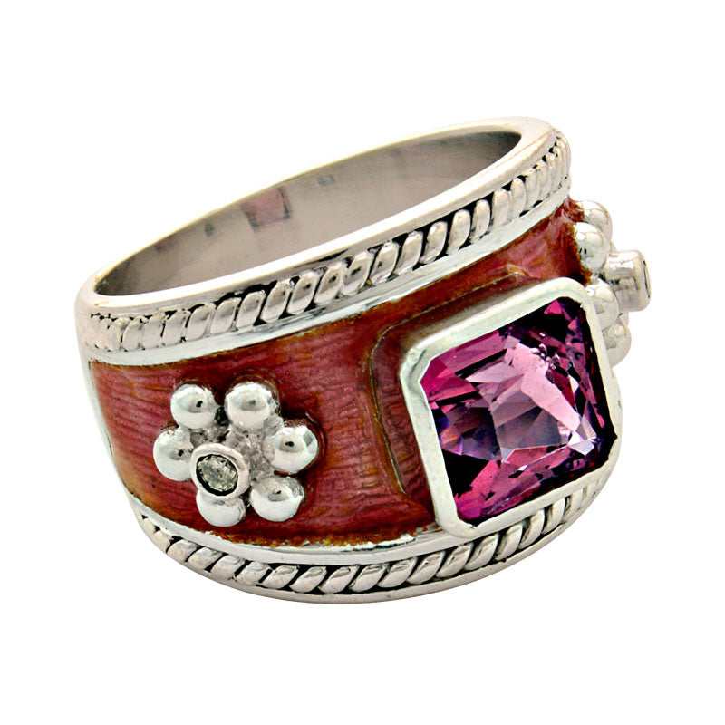 Ring-Rubellite and Diamond (Enamel)