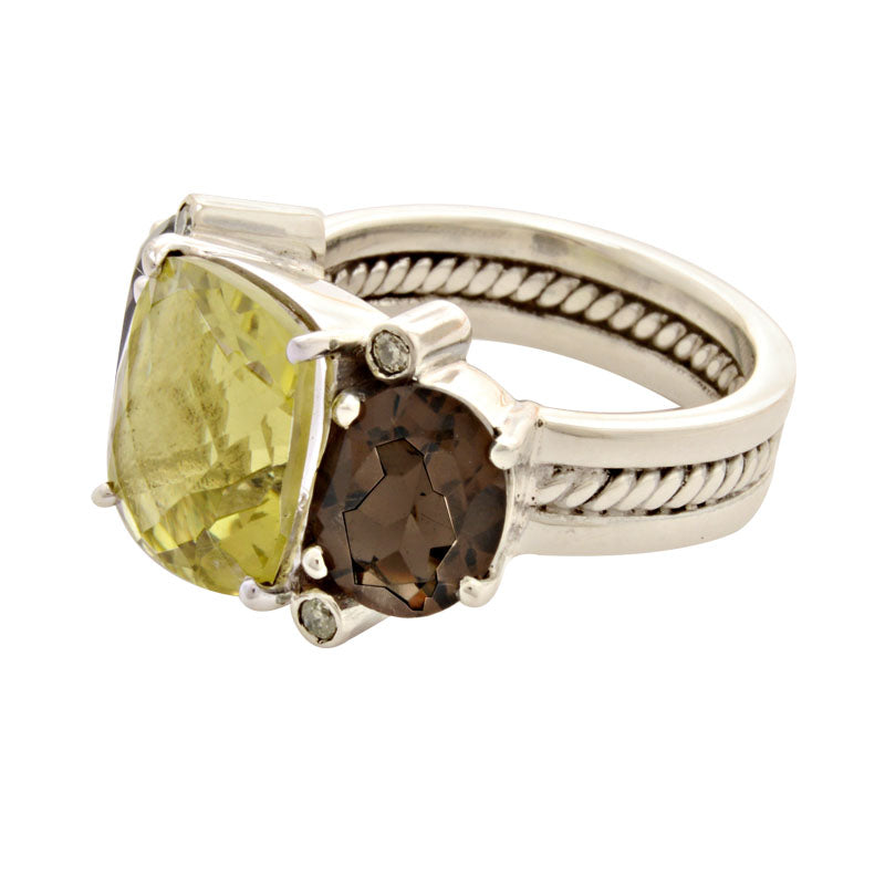 Ring-Lemon Quartz, Smokey Quartz and Diamond