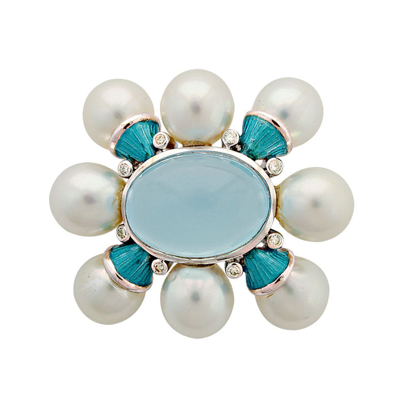 Brooch-Chalcedony, South Sea Pearl and Diamond (Enamel)