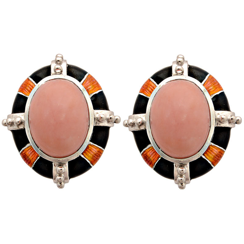 Earrings-Pink Opal (Enamel)