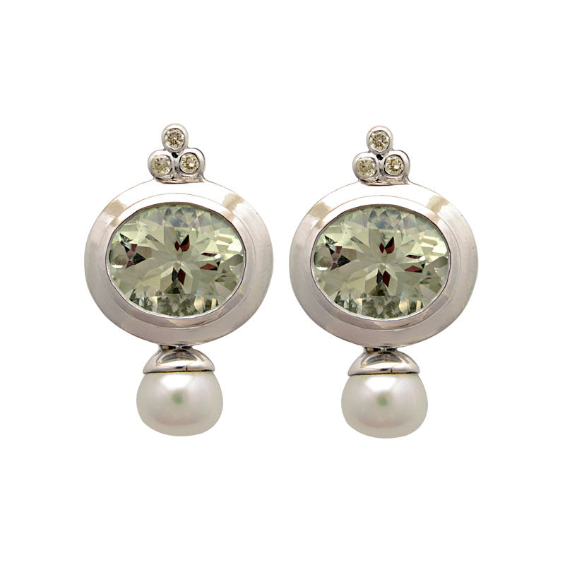 Earrings-Green Quartz, Fresh Water Pearl and Diamond