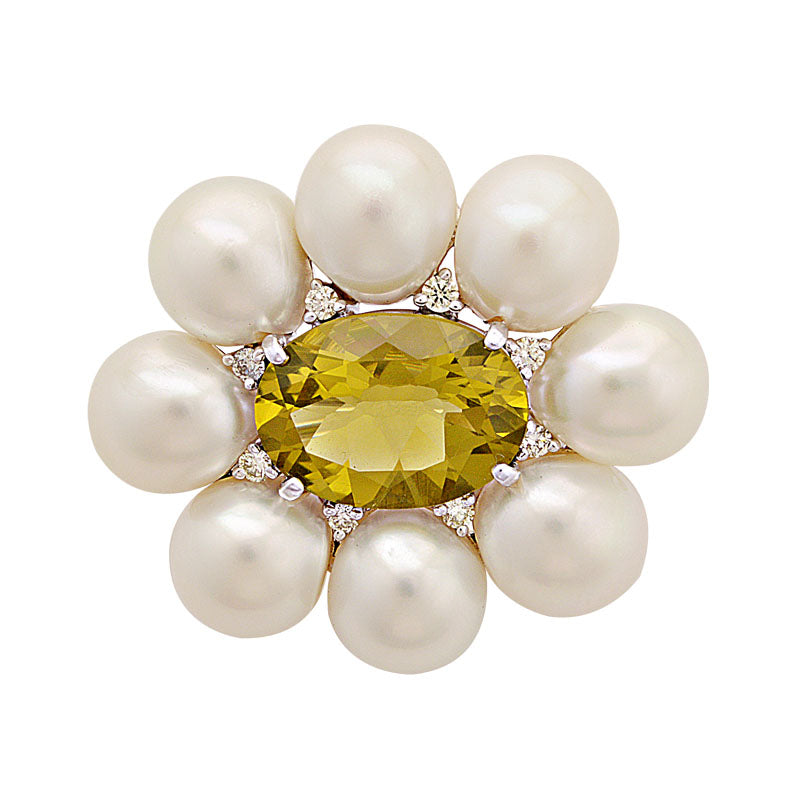 Brooch-Lemon Quartz, South Sea Pearl and Diamond