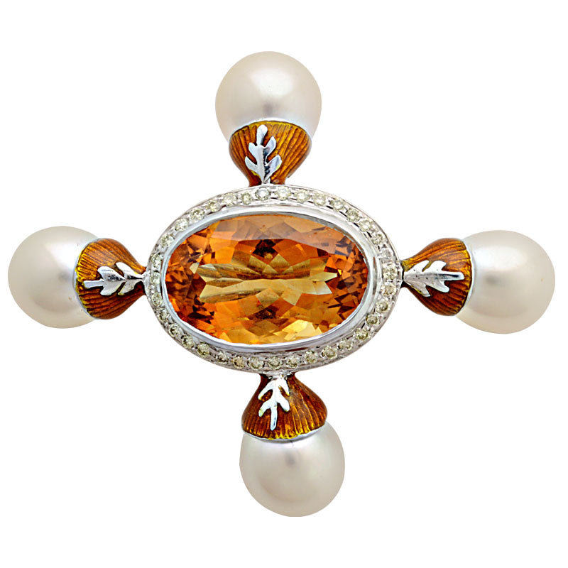 Brooch-Citrine, South Sea Pearl and Diamond (Enamel)