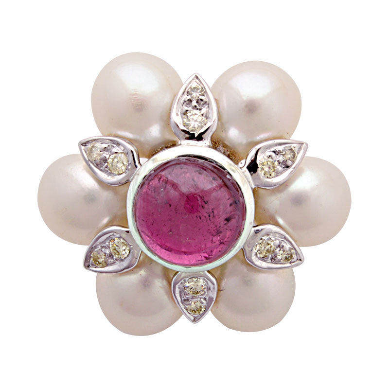 Brooch-Rubellite, South Sea Pearl and Diamond