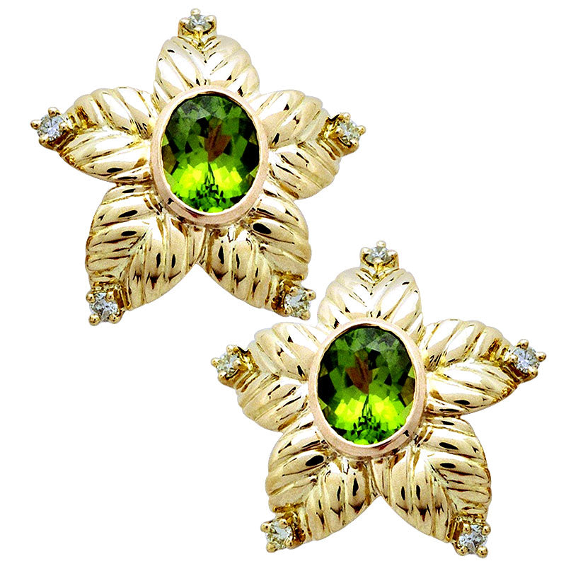 Earrings-Peridot and Diamond