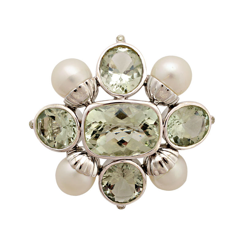 Brooch-Green Quartz, South Sea Pearl and Diamond