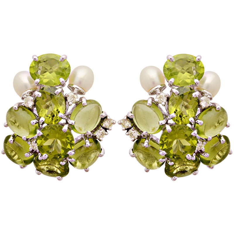 Earrings-Peridot, Pearl and Diamond