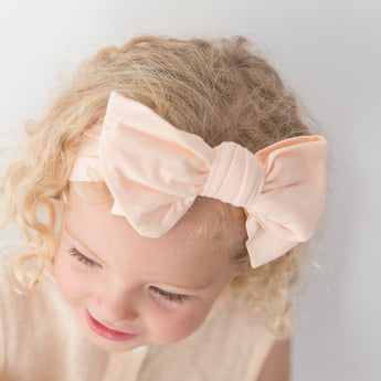 Organic Oversized Bow Headband - Blush