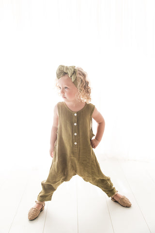 Linen Lovers Romper - Moss Green