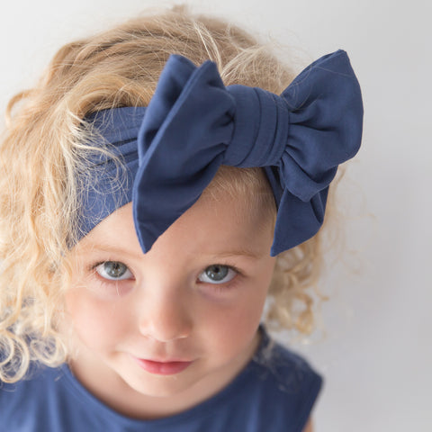 Organic Oversized Bow Headband - Blueberry