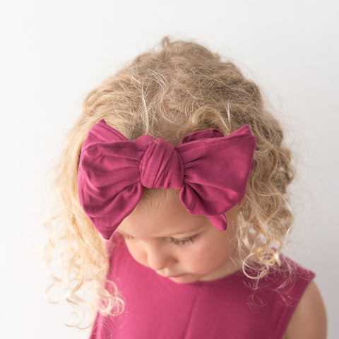 Organic Oversized Bow Headband - Berry