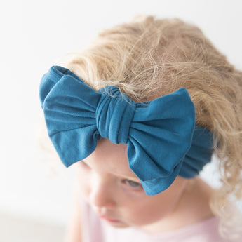 Organic Oversized Bow Headband - Tealberry