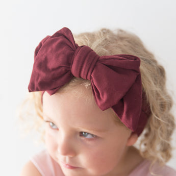 Organic Oversized Bow Headband - Mulberry