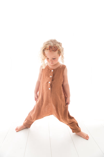 Linen Lovers Romper - Apricot