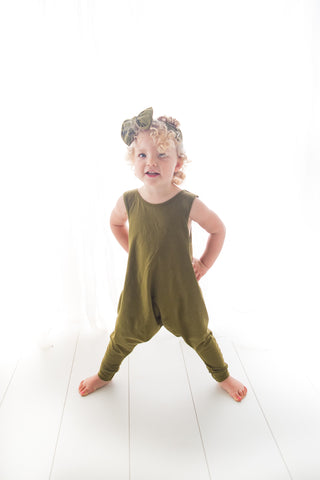 the best organic baby kids toddler harem romper khaki