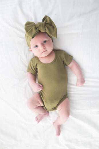 unisex baby romper once olive