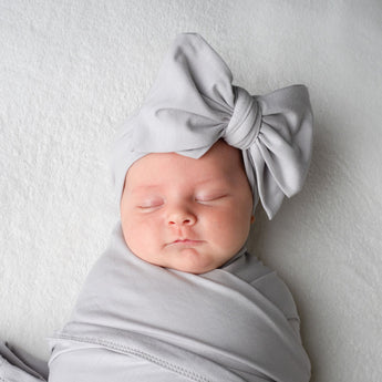 Organic Oversized Bow Headband - Cloud Grey