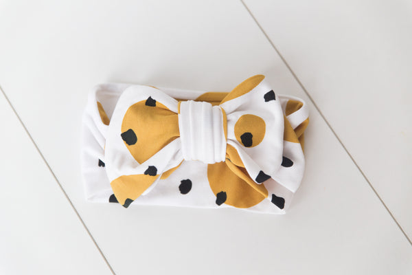 POLKA DOT PAINT ORGANIC OVERSIZED HEADBAND