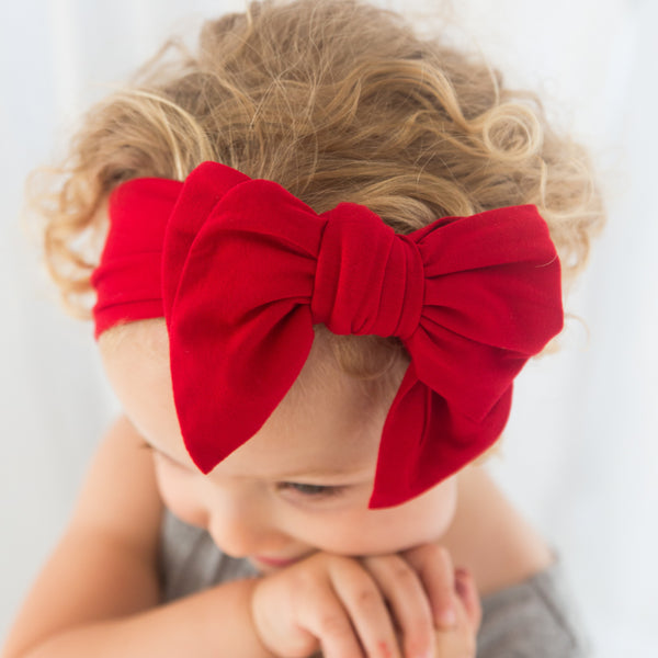 Organic Oversized Bow Headband - Red