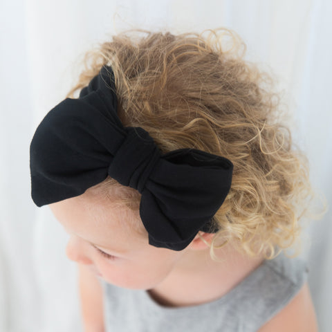 Organic Oversized Bow Headband - Black