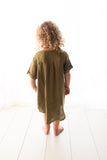 Moss Green Linen T-shirt/Dress