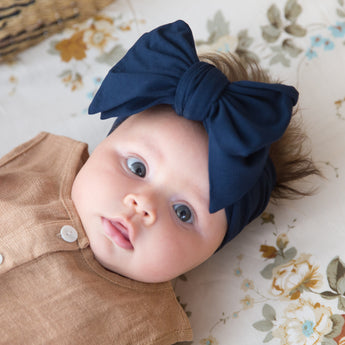Organic Oversized Bow Headband - Navy