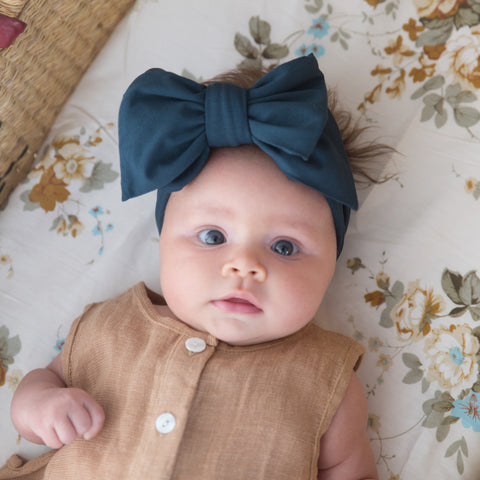 Organic Oversized Bow Headband - Forest Green
