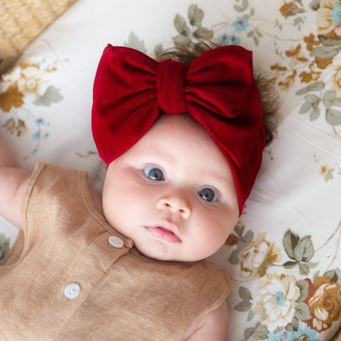 Organic Oversized Bow Headband - Red Wine