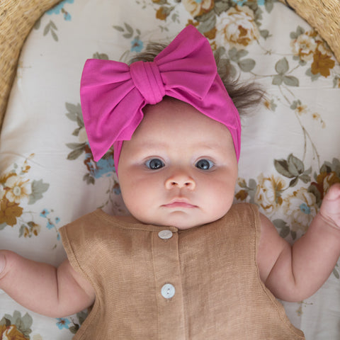 Organic Oversized Bow Headband - Pink