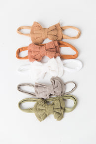 Linen Small Bow Headband - Newborn