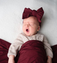 Organic Oversized Bow Headband - Wine