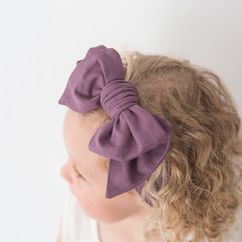 Organic Oversized Bow Headband - Grape